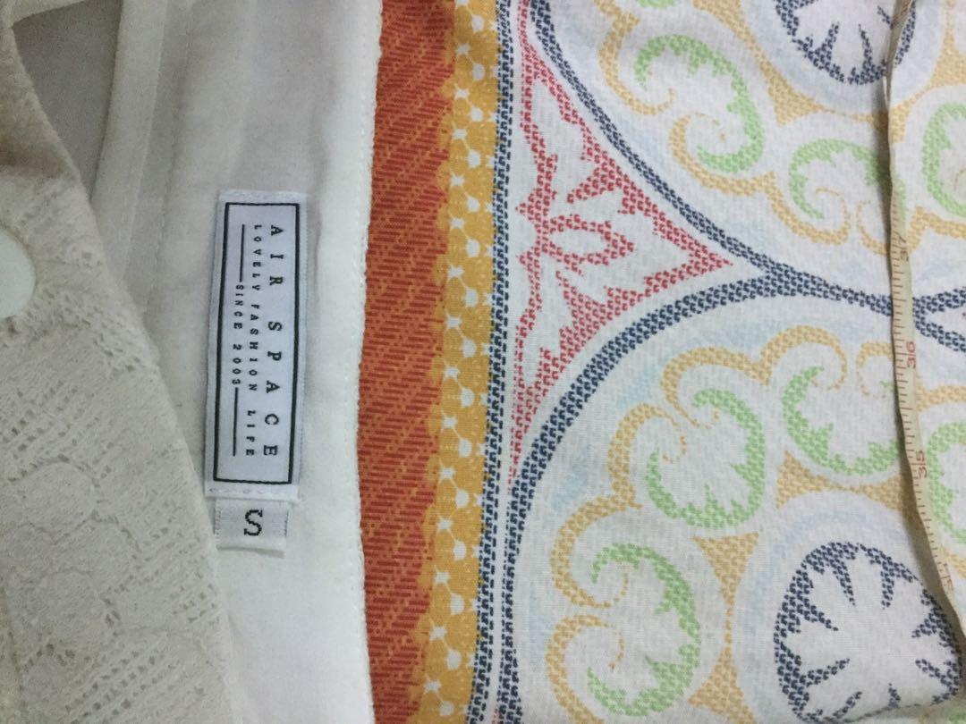 AIR SPACE 白色簍空蕾絲寬褲S號