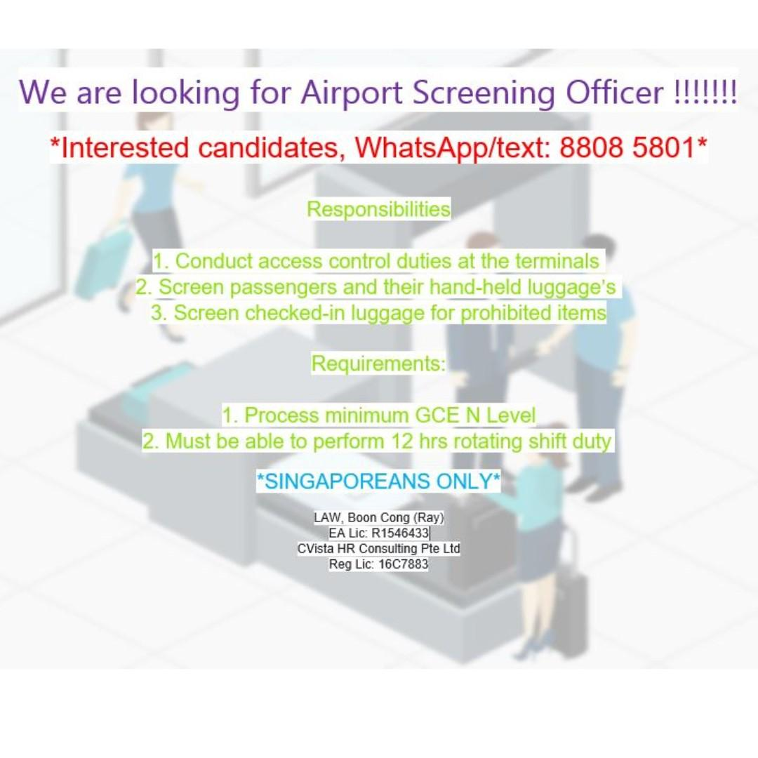 Airport Screening Officer (Gross up to $2.5k / Changi) (R)