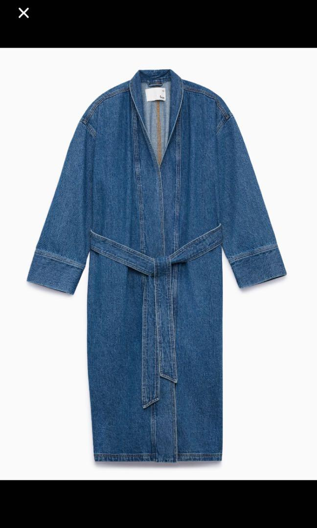Aritzia Wilfred free denim trench jacket with belt size 1