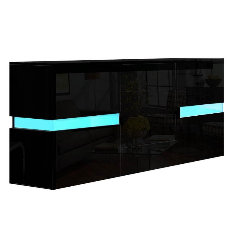 Artiss Buffet Sideboard Cabinet High Gloss Storage Cupboard Doors Drawer RGB LED