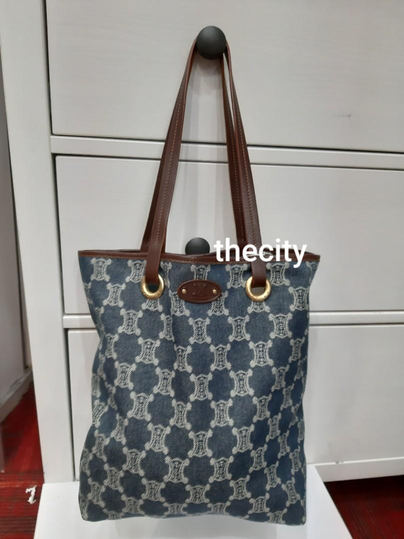 AUTHENTIC CELINE MONOGRAM LOGO SHOULDER TOTE BAG - GOOD CONDITION -  CELINE MONOGRAM LOGO BACK IN FASHION FOR 2019 COLLECTION