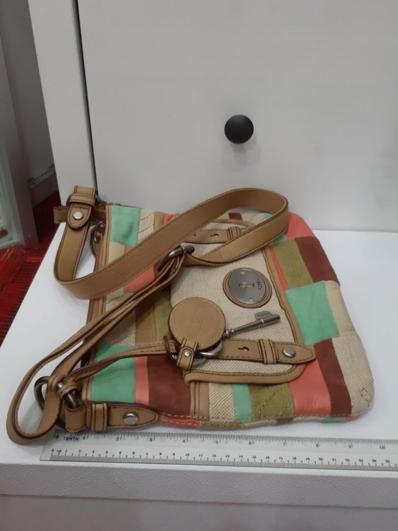AUTHENTIC FOSSIL SLING MESSENGER BAG - PATCHWORK DESIGN - GOOD CONDITION, ■ ●SOLD●■