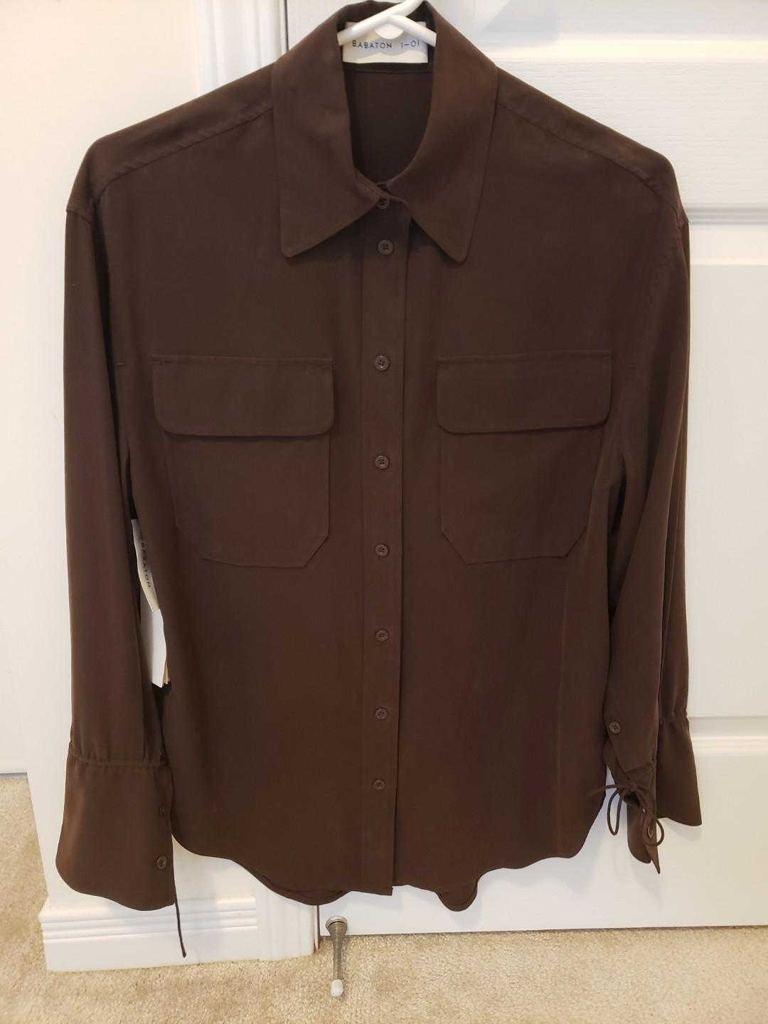 Babaton 1-01 100% Silk Johanson Shirt Warm Earth Aritzia
