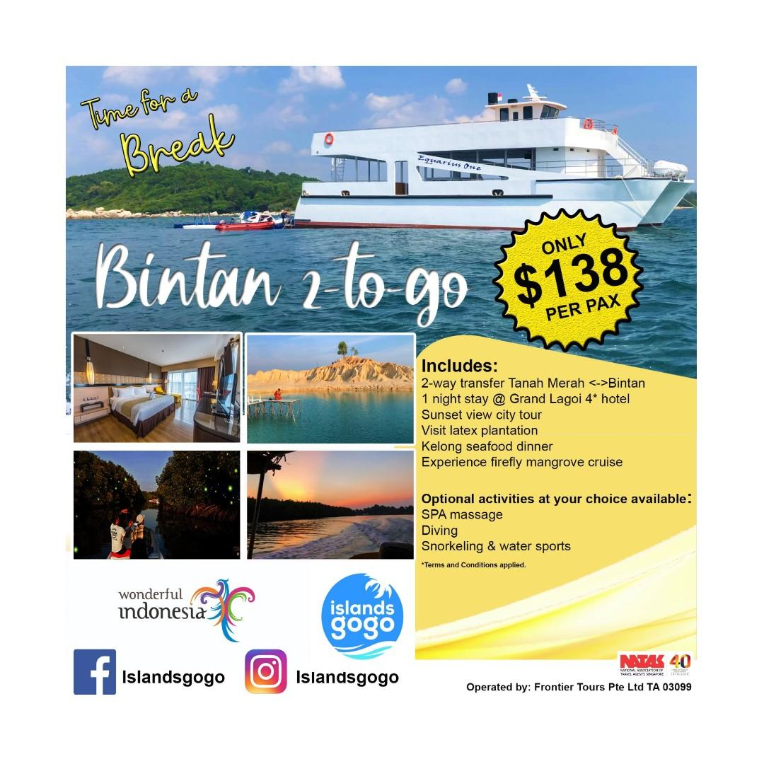 Bintan 2D1N tour worth S$218 is now selling at only S$138 per pax. (minimum 2 to go)