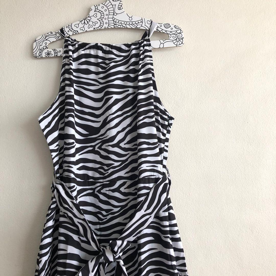 Brand new black and white layered dress midi classy elegant