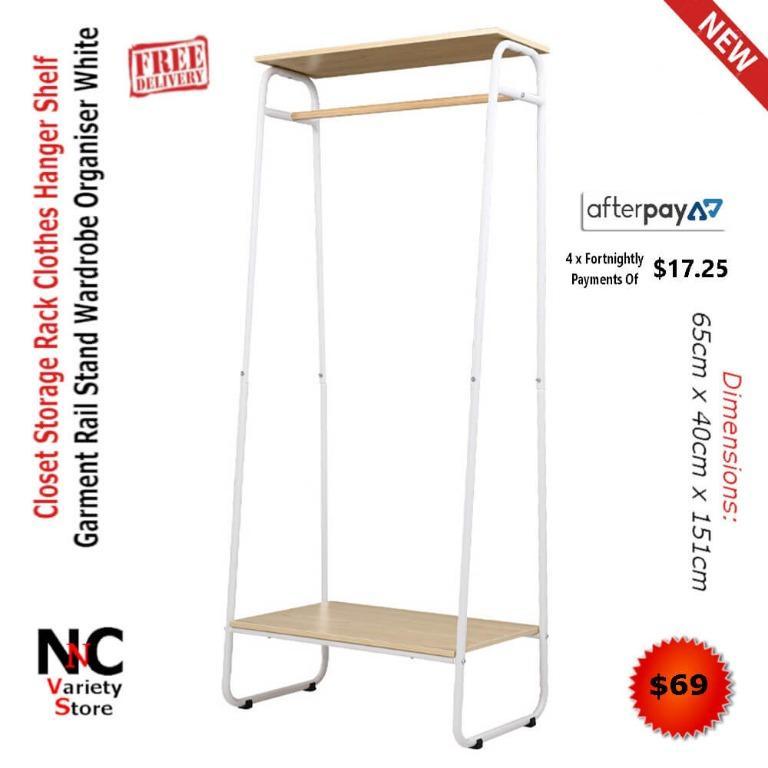 Closet Storage Rack Clothes Hanger Shelf Garment Rail Stand Wardrobe Organiser White