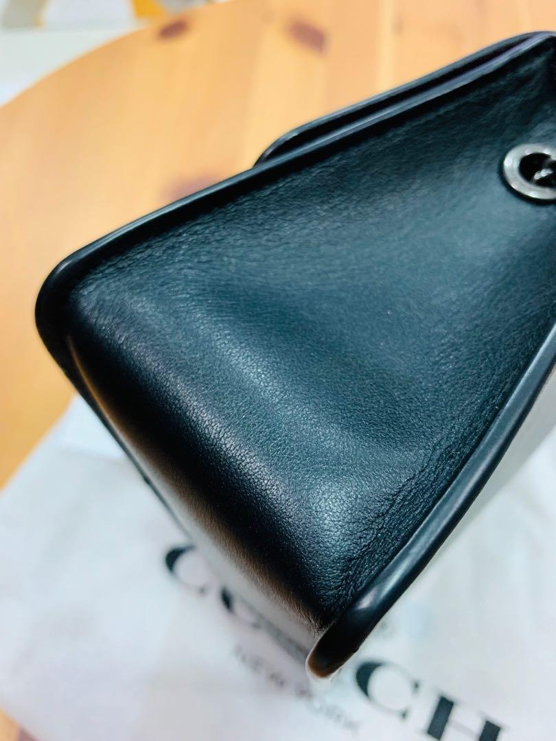 Coach 全新 彩鑽黑皮釦小方包 miumiu即視感 iPhone plus放得下 可手拿肩背側背