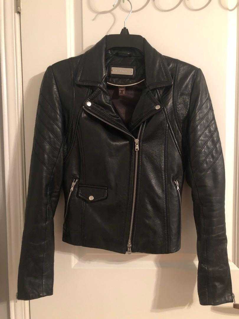 Danier leather black leather Moto jacket size 3xsmall