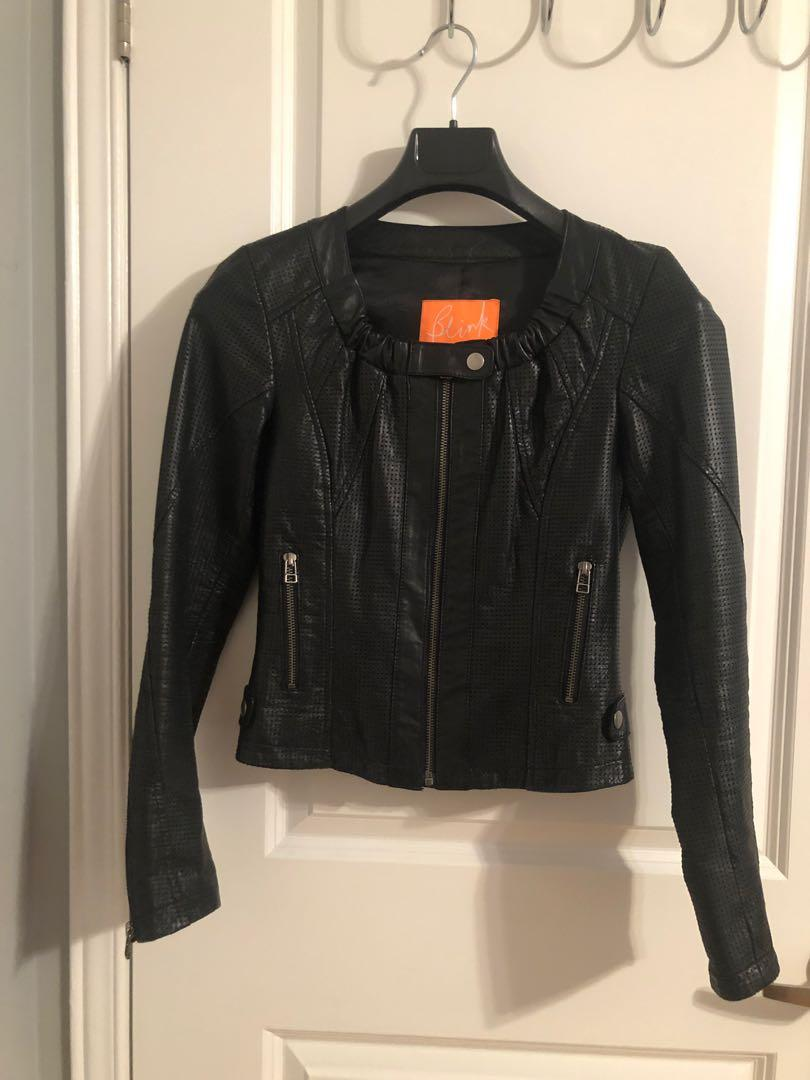 Danier Leather (Blink collection) Black  perforated leather jacket size xxxs