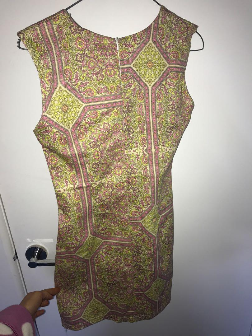 Dress- new shift dress, yellow and pink paisley pattern