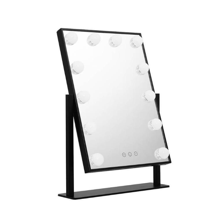 Embellir LED Makeup Mirror Hollywood Standing Mirror Tabletop Vanity Black