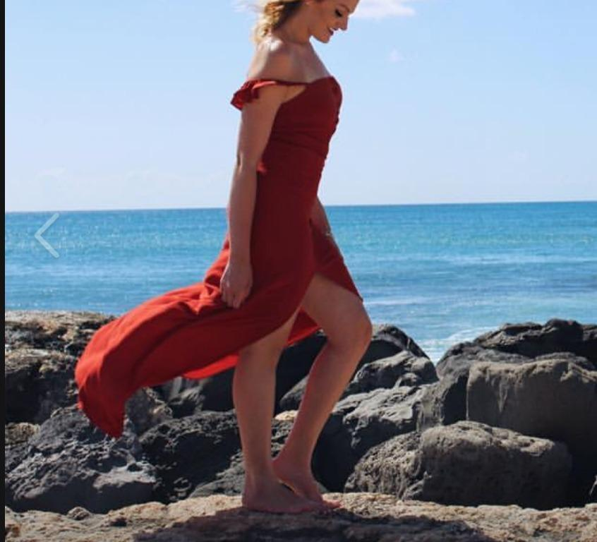 Flynn Skye Bardot Maxi Dress in Crimson Red colour
