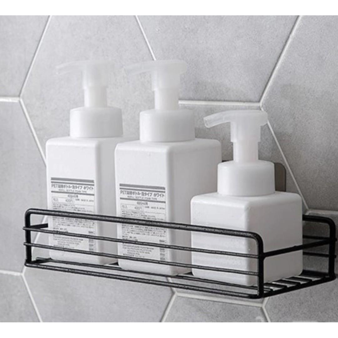 Home Iron bathroom rack shower shelf free punching wall hanging basket storage rack