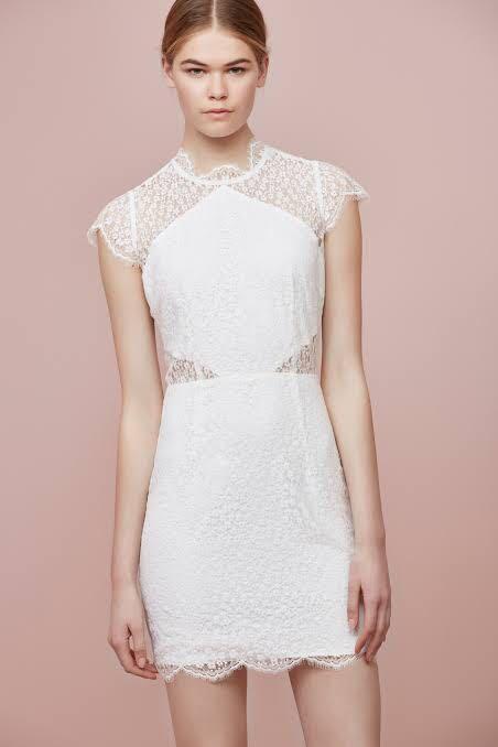 Keepsake daydream lace mini dress white