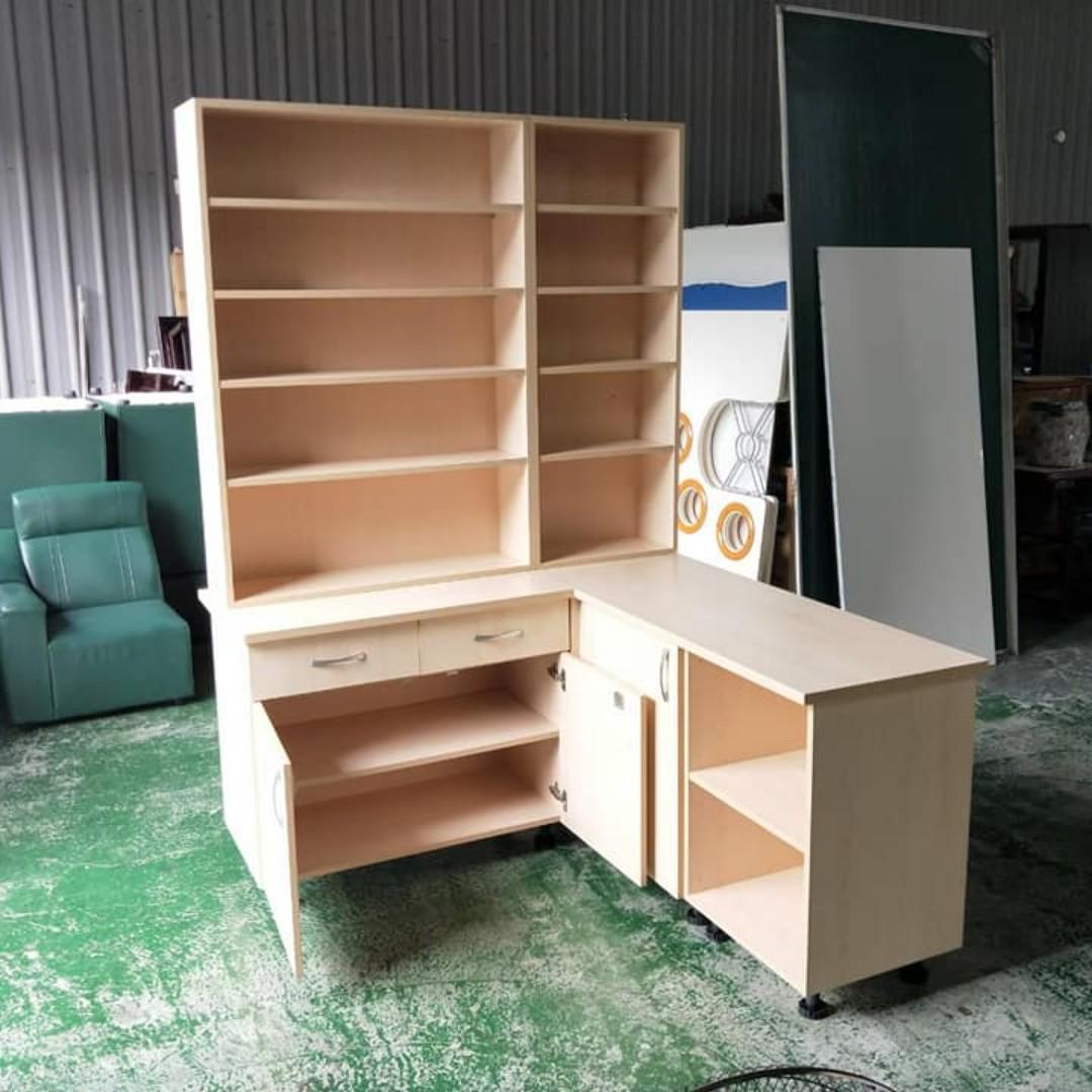 合運二手傢俱~木紋L行置物櫃A02482
