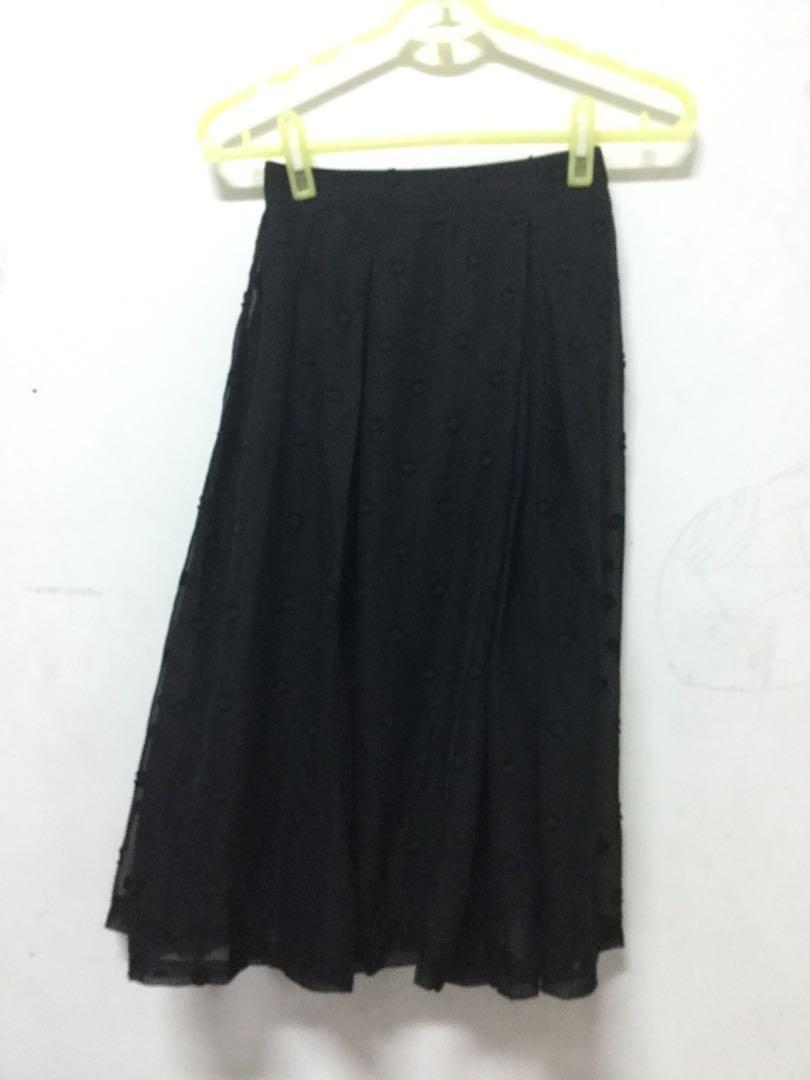 LOVFEE 黑色薄紗裙子S號