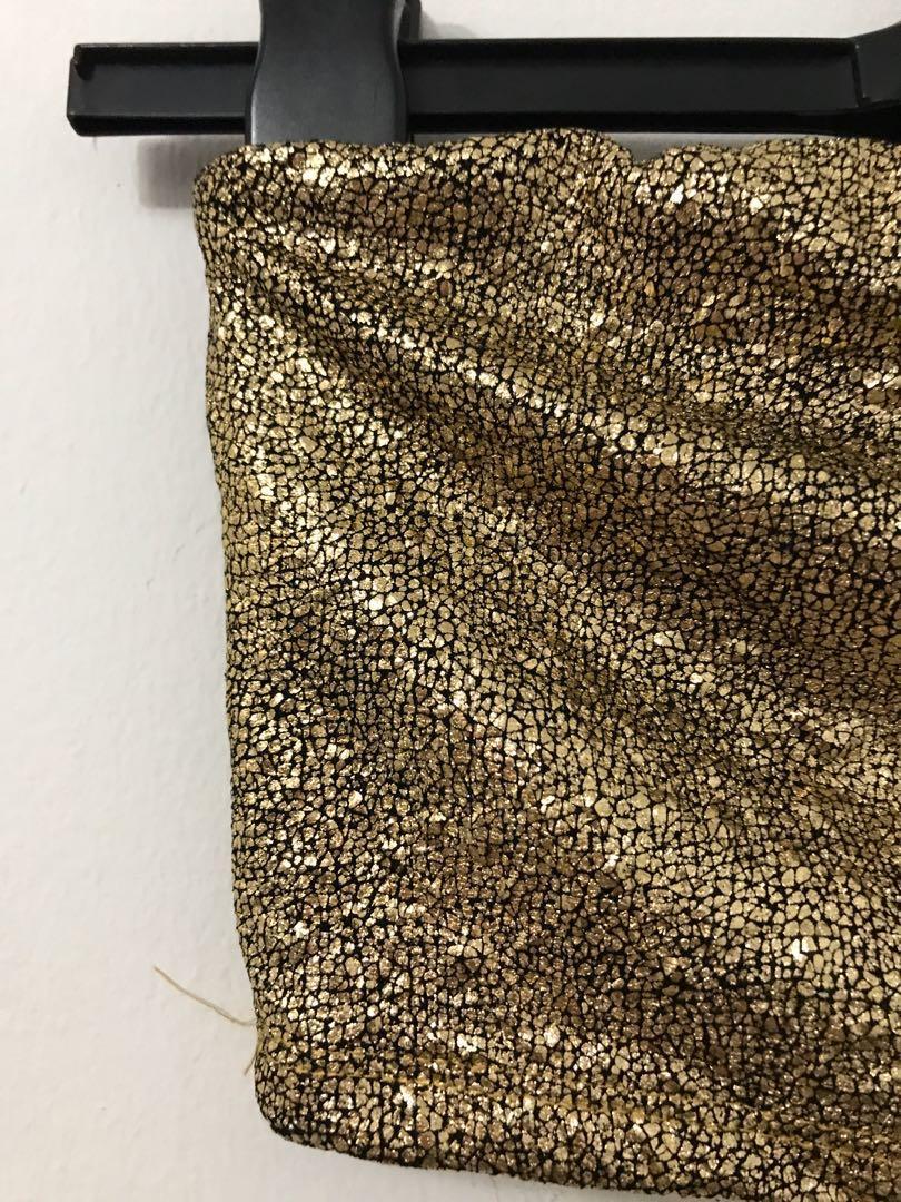 M BOUTIQUE/ MENDOCINO Metallic Gold Tube top - SMALL