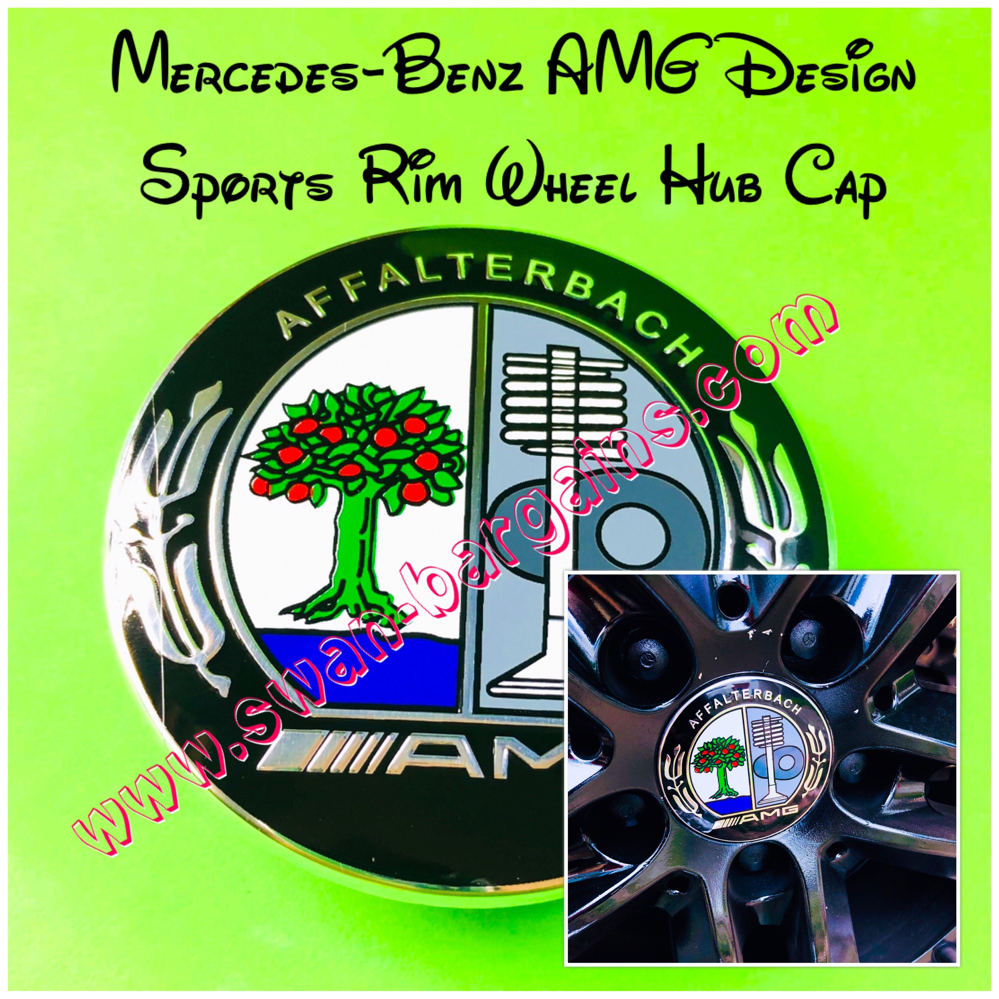 Mercedes Benz Colour AMG Style Design Logo Badge Sports Wheel Rim Center Hub Cap Cover 75mm A B C CLA E GLA GLC Class Fits on Benz Stock Rims