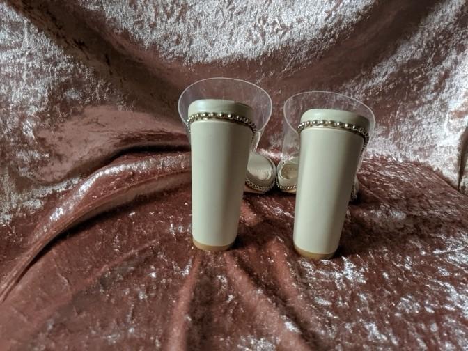 MISSGUIDED Nude Chain Trim Perspex Mules/Heels szEU37/AU6/UK4/US6 BNIB