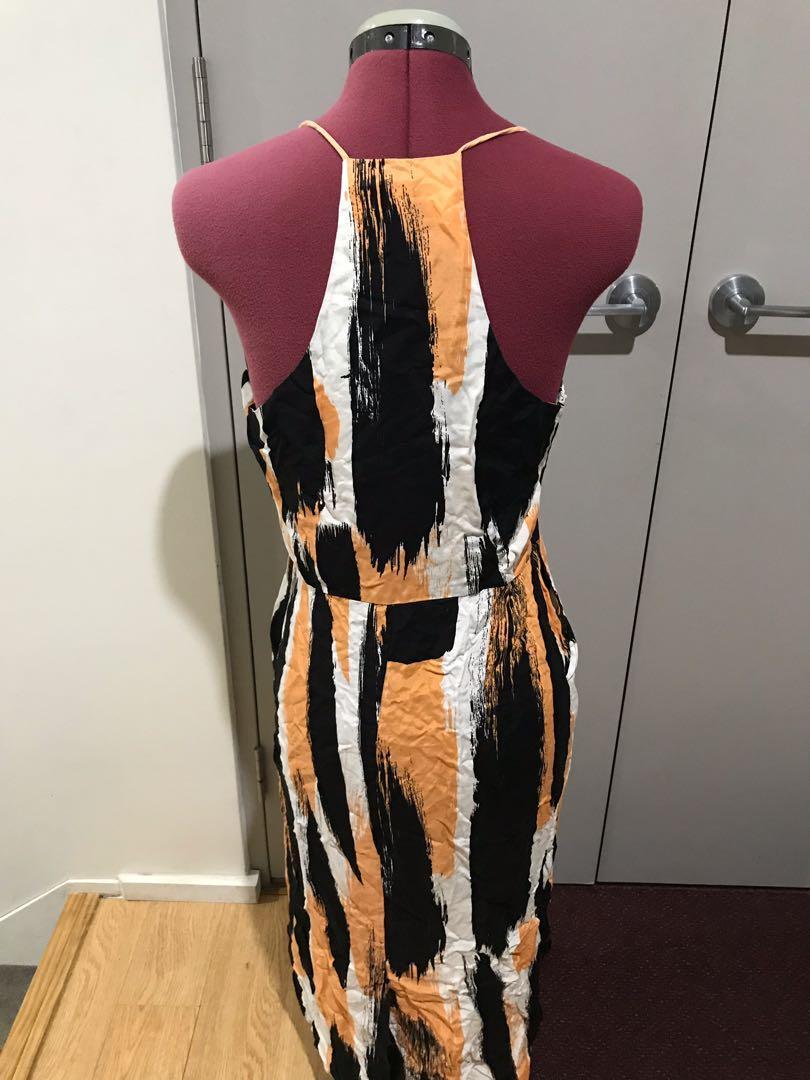 Orange black and white midi dress with pockets size 38