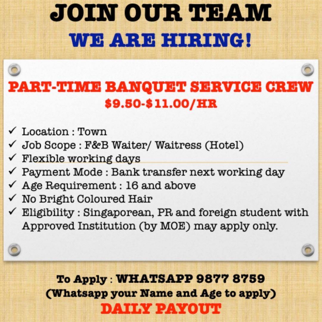 PART-TIME BANQUET SERVICE CREW
