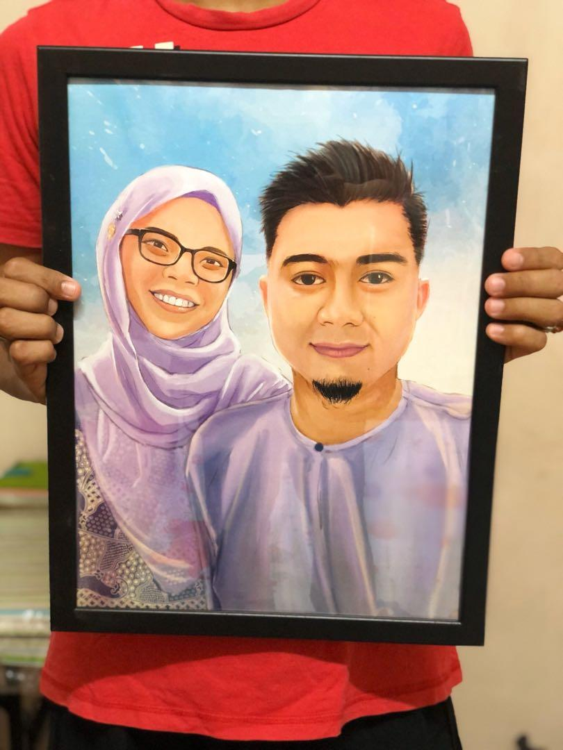 Portrait drawing with frame