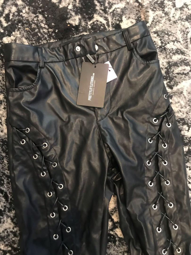 Pretty little thing lace up faux leather trousers pants