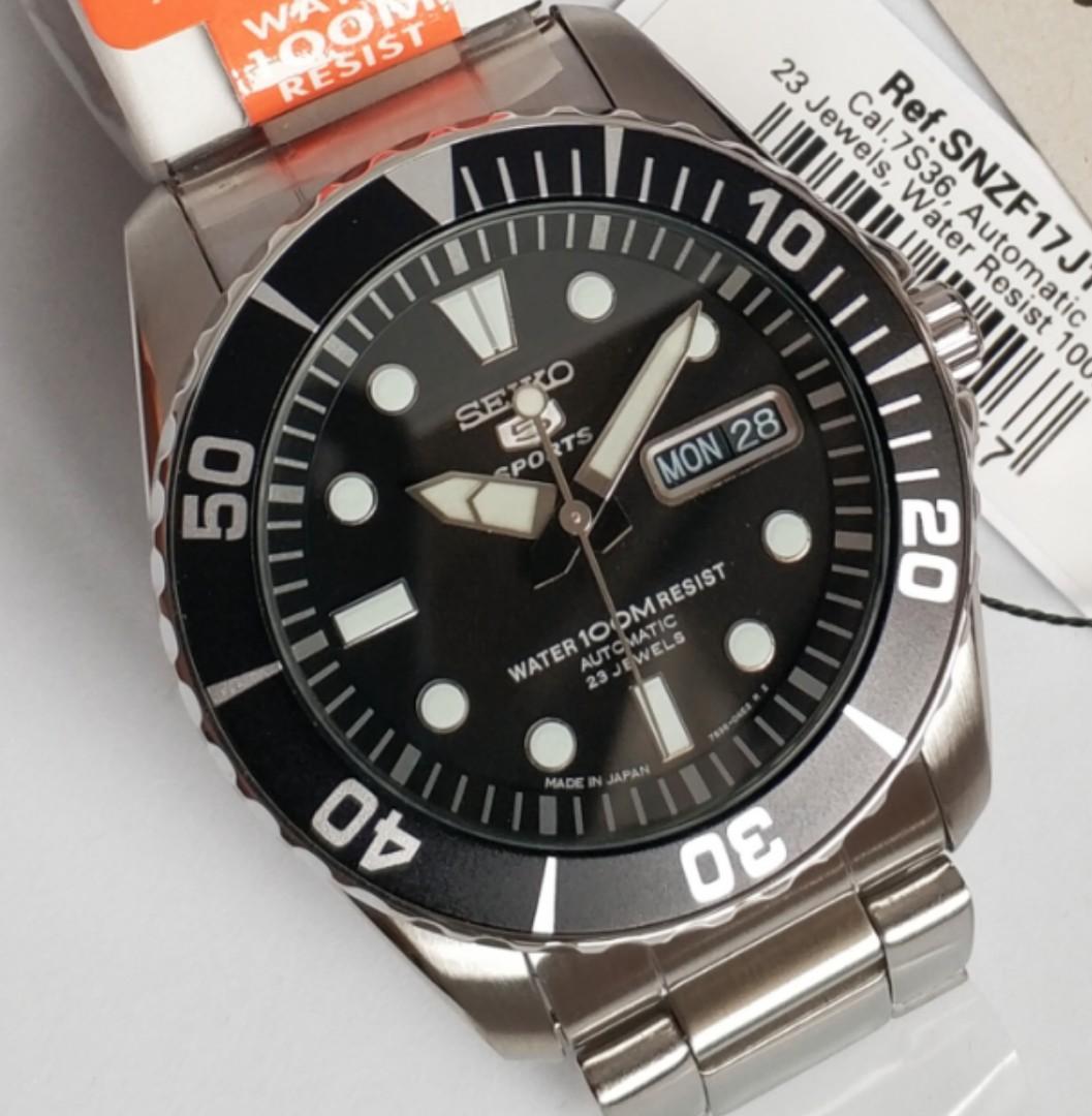 Seiko 5 Sports Automatic 23 Jewels Japan Made SNZF17 SNZF17J1 SNZF17J Men's Watch