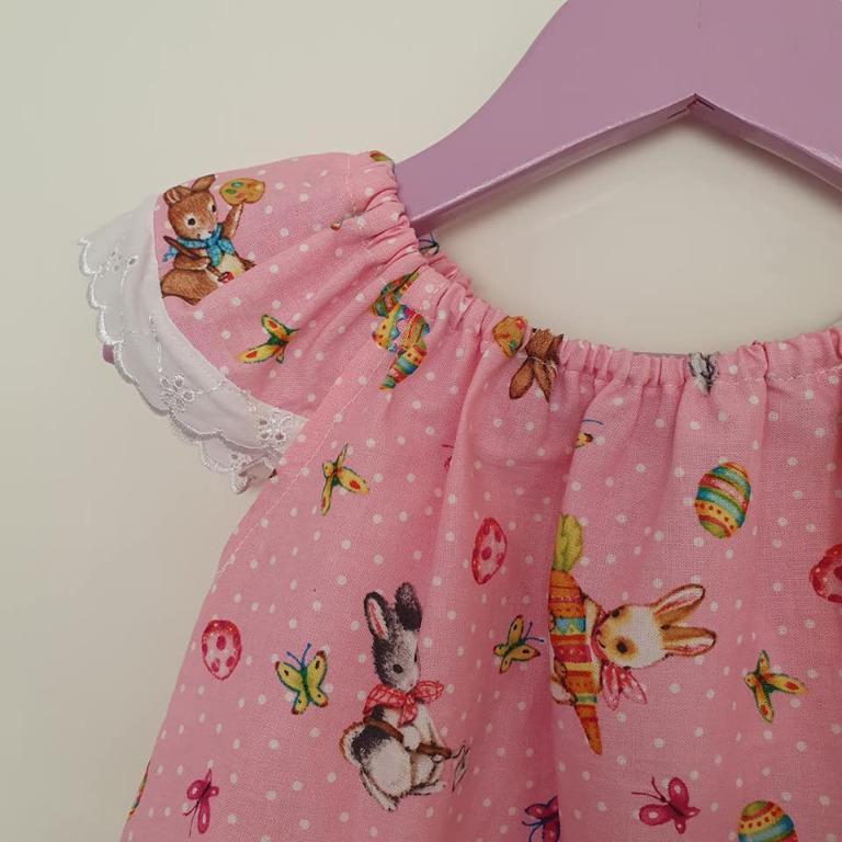 Size 2 BNWT Handmade one of a kind bunny print flutter sleeve dress