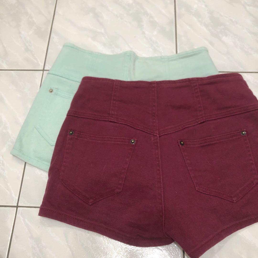 Someway woman高腰糖果色牛仔短褲(兩件140)