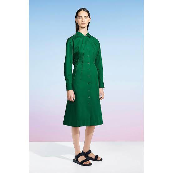 UNIQLO Women uniqlo u 100% cotton twill long sleeve shirt dress
