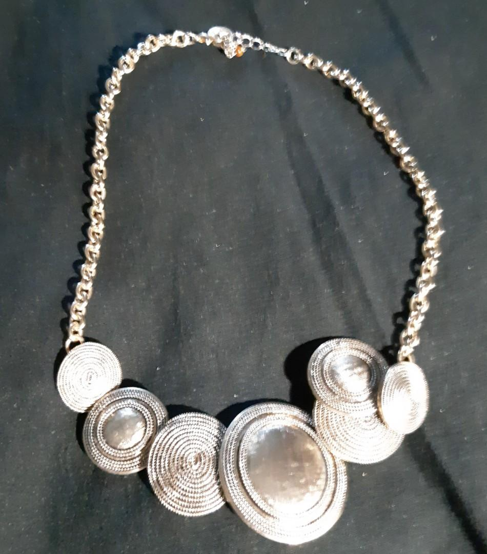 Vintage silver plated disc necklace and push back earrings