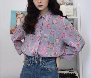 粉紫色迷幻古著襯衫