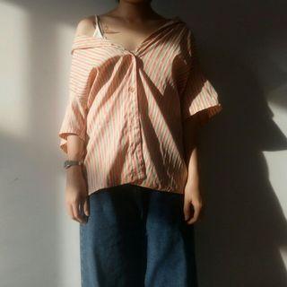 明日古著二手選物粉橘色直條紋花襯衫