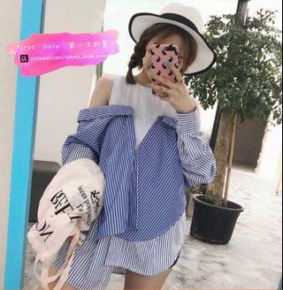 Korean Style Shirt Dress 韓版假兩件式條紋襯衫