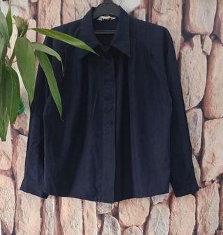 Navy embroidery loose shirt