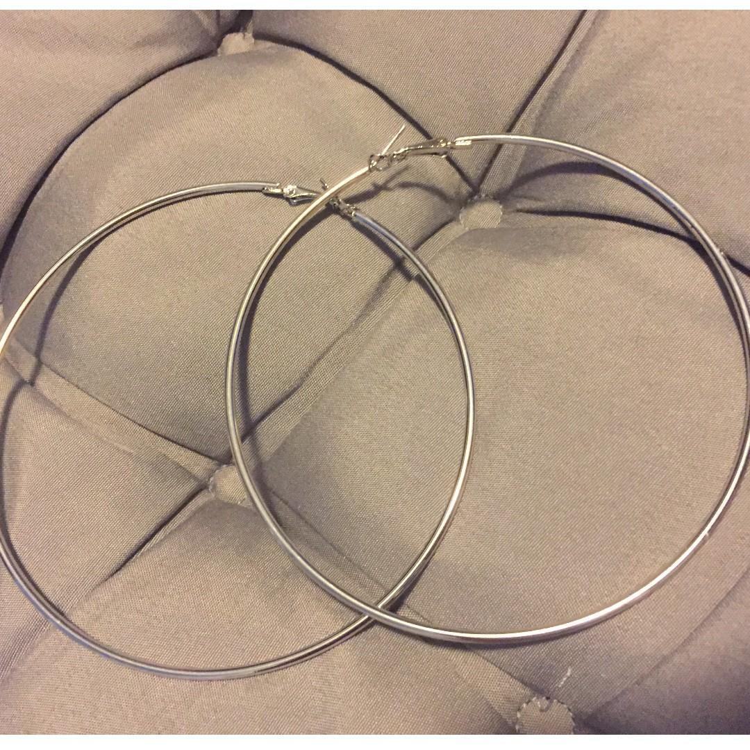 全新金屬大圓圈耳環耳針10cm 歐美嘻哈風