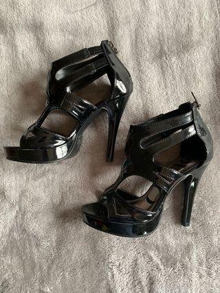 Black patent stiletto heels
