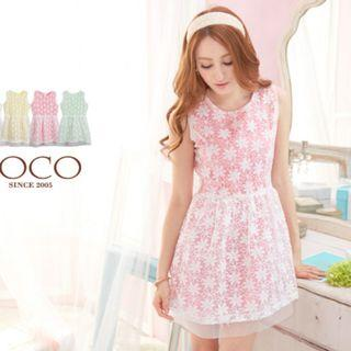 免運~東京著衣-糖果色透視感花紗洋裝-粉紅ML可穿