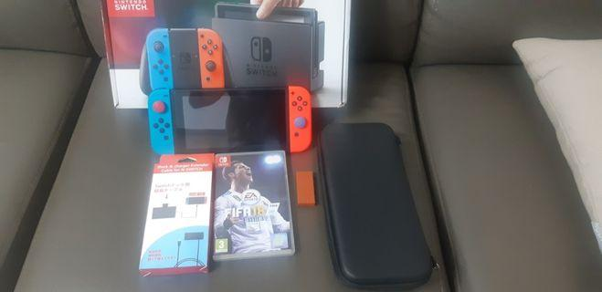 Nintendo Switch Neon With Fifa 18