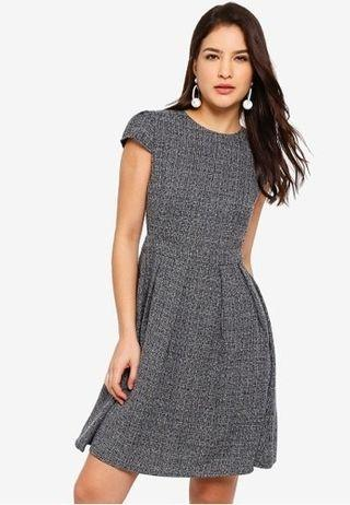 Zalora Cap Sleeves Pleated Fit and Flare Dress