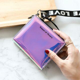 全新鐳射紫藍時尚短夾皮夾錢包