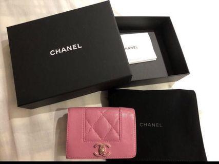 Chanel 粉色復古皮夾