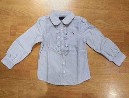 Blue Long Sleeve Shirt with frills for Girls (minor defect)