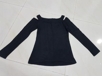 Black Cold-Shoulder Top (Stretchable) #18sale
