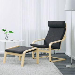 IKEA POANG 扶手椅組 腳墊 板凳 黑色 布面 原價6000