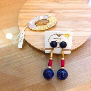 全新日本百貨購入飾品組質感水鑽髮夾/木頭幾何夾式耳環