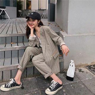 秋冬必備韓版英倫風格子西裝兩件式套裝