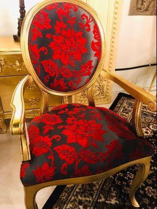 -現貨- 高詢問度* 西班牙Toscano黃金鑲嵌紀念章式絨布椅(紅) 扶手椅 皇室典藏 -現貨不用等-
