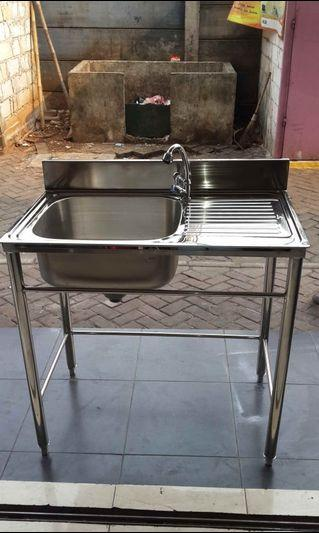 Sink Stainless 1 Lubang uk.86x46 cm T.80 cm